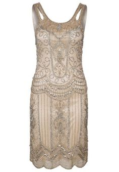 Womens 1920s Style Dresses and Clothing. Frock and Frill Cocktail dress / Party dress beige $135.00   #1920sfashion #greatgatsby