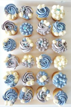 Mini blues and greys Elegant Cupcakes, Fancy Cupcakes, Floral Cupcakes, Pretty Cupcakes, Beautiful Cupcakes, Birthday Cupcakes For Women, Baby Shower Cupcakes For Boy, Pastel Cupcakes, Bridal Shower Cupcakes