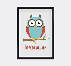 Modern Genes Art.  Modern Owl kids wall art by moderngenes on Etsy, $15.00