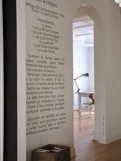 fave recipe on wall... need to translate my choc chip cookies recipe into Italian and do this