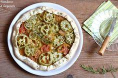 Tarte rustique tomates vertes et romarin Green Tomatoes, Raspberries, Bergamot Orange, Rustic, Pie