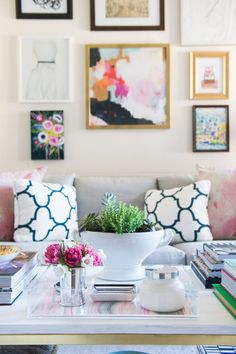 This navy and white show stopper is actually the fabric our founder, Heloise Mckee chose for the throw pillows on her sofa! This classic pattern and color combination will never go out of style and lo