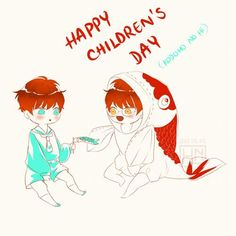 "HAPPY CHILDREN'S DAY "" Kodomo no Hi (Children's Day) is a Japanese national holiday which takes place annually on May 5. "" Kinda weird cuz the Choi twins are live in Korea… (゜▽ ゜″)"