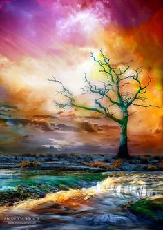 """Vibrant Jewel Tone Colors - """"A Momentary Forever ~ Digital Art by Moniquette Art Watercolor, Photo Tree, Tree Art, Beautiful Paintings, Beautiful Scenery, Beautiful Boys, Art Pictures, Photos, Amazing Art"""