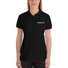 The classic Turtle time Polo at www. Polo Bordado, Polo Shirt Women, T Shirts For Women, Embroidered Polo Shirts, Uniform Shirts, Monogram Shirts, Cute Crop Tops, Shirt Embroidery, Long Sleeve Bodysuit