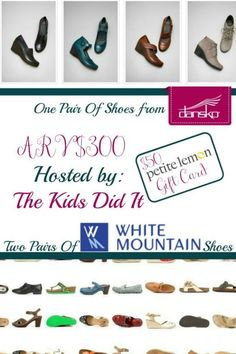 Fall Fashionista Prize Package! (ARV $350) The package includes TWO pairs of White Mountain Shoes of choice and ONE pair of Dansko clogs in Barcelona or Naples collections and a $50 Petite Lemon gift card!