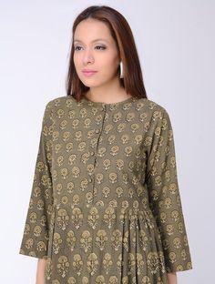 Olive Block-printed Gathered Cotton Dress Printed Kurti Designs, Simple Kurti Designs, Kurti Neck Designs, Kurta Designs Women, Blouse Designs, Dress Designs, Cotton Dresses Online, Kurta Patterns, Smart Dress