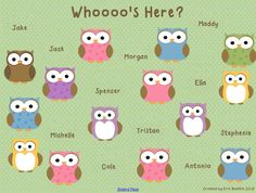 Owl Theme Attendance for SMART Board from Mrs. Beattie's Classroom...not much on owls these days (thanks you know who) but a cute idea for smartboard