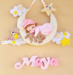 Baby Mobile, Maya, Diy Crafts, Album, Wreaths, Feltro, Fabric Letters, Ornaments, Manualidades