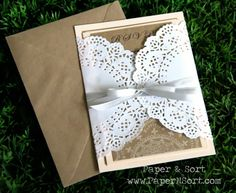 DIT WEDDING INVITES WRAPPED IN LACE DOLLIES | wedding invitation in light peach made of kraft paper, paper lace ...