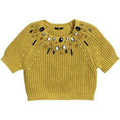 H&M Jumper with beaded embroidery (£15) found on Polyvore featuring tops, sweaters, yellow, brown tops, brown sweater, h&m, embroidered top and yellow short sleeve sweater