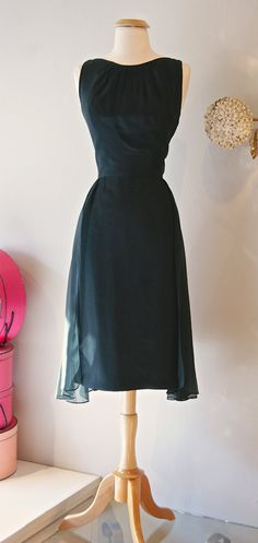 Vintage 1960s Dress // 60's Mad Men Chiffon Panel by xtabayvintage, $198.00