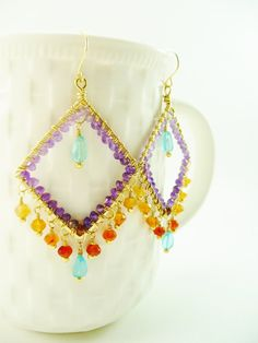 Gold Gypsy Earrings Beaded Chandelier Earrings by ArtbyCateJewelry, $95.00