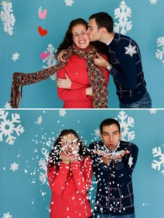 Winter photos: like this- I see a X-mas card like this in our future! NO KISSING IN PHOTO BOOTH!!