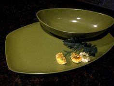 ALLIED CHEMICAL Avocado Green Platter Number 2 by maggiecastillo, $20.00
