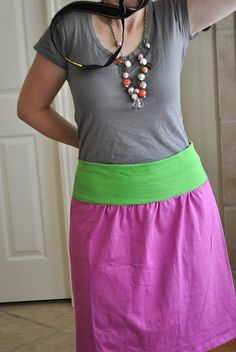 a skirt made from a $1.50 men's XL clearance t-shirt.  smartie-smart smart!