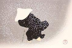 神坂雪佳木版画 巴の雪 Tomoe no yuki Sekka KAMISAKA World of Things
