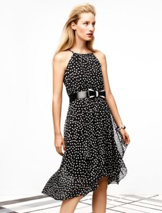 Love this polka dot dress from White House Black Market. The bow at the waist is adorable. #Dress #WHBM #Bow