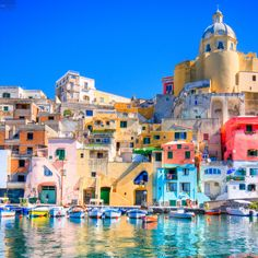"Stunning colors in the ""La Corricella"" harbour, Procida Island, Naples, Italy"