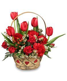 valentine's day flower arrangements | SWEET LOVE Basket Arrangement | Valentine's Day | Flower Shop Network