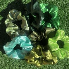 the green collection✨ I Shop, My Etsy Shop, Green Satin, Scrunchies, Head Bands, Plants, Projects, Pattern, Shopping