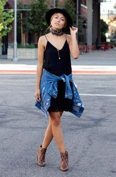 Street style look com vestidop preto e chapéu.