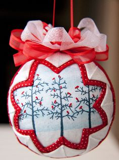 White and Red Quilted Christmas Ornament Ball