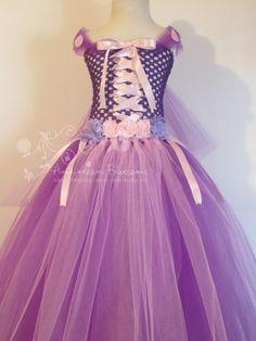 Rapunzel Costume Tutu Dress Rapunzel pleine longueur robe bébé filles Toddler Halloween Costume Princesse Purple inspiré par fleurs américains