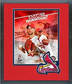 Adam Wainwright Framed With Team Color Double Matting Ready To Hang- Awesome