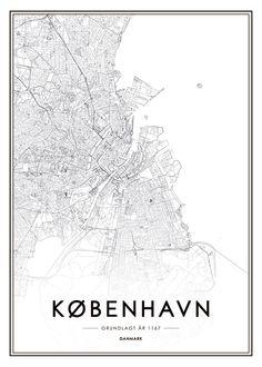 Poster mit Kopenhagen-Karte