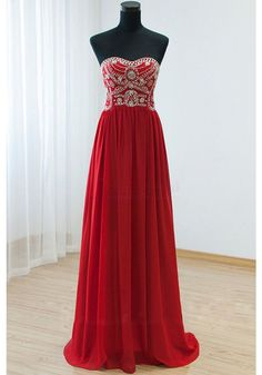 A-line Strapless Sweetheart Beads evening gown dresses