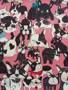Japanese cotton fabric dog french bulldog printed One yard pink colour One yard 100*100cm 39inch*39inch Unfinished edges Oxford fabric Made in Japan 100%cotton
