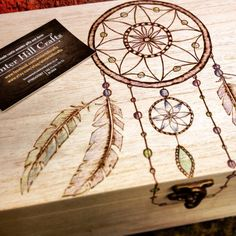 Large dreamcatcher wooden box, large keepsake box, memory box, memorial box, pyrography box, spiritual gift, personalised gift, make a wish
