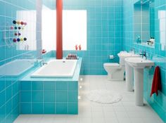LOVE the bright color with all the white, love the tile tub, too