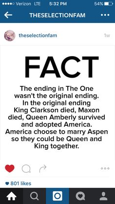 The One alternate ending. I don't understand it. America loved Maxon by the end and Aspen was in love with Lucy. I don't get why he'd marry her. Because he's always there for her? But he doesn't love her! I like the true ending the best. Thank goodness this didn't happen. ~The Selection