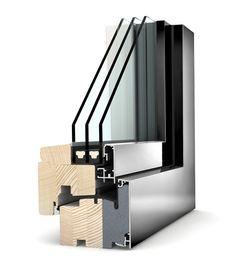 Okno drewniano - aluminiowe Internorm Home Pure HF 210. Izolacyjność cieplna okna do 0,67 W/m²K.