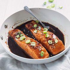 Zalm teriyaki – Food And Drink Crispy Chicken Salads, Chicken Pasta Recipes, Fish Recipes, Snack Recipes, Shrimp Recipes, Healthy Recipes, Pureed Food Recipes, Real Food Recipes, Healthy Student Meals