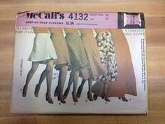 Vintage 70's McCall's 4132 - Misses' Skirt in Multiple Lengths Waist 30/Hip 40