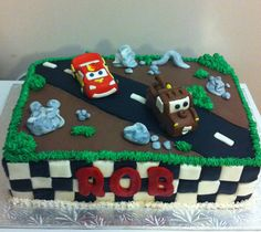 Cars themed Birthday Cake!! Lightening McQueen and Tow Mater are handmade from gun paste!