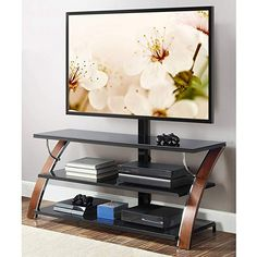 Whalen Brown Cherry 3-in-1 Flat Panel TV Stand for TVs up to fa1735ba203f