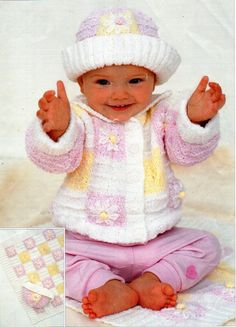"baby KNITTING PATTERN pdf baby / childs jacket blanket hat baby girls flower cardigan 18-26"" DK light worsted 8ply pdf instant download by Minihobo on Etsy"