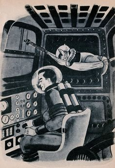 """""""Space Cat"""" by Ruthven Todd; Illustrated by Paul Galdone Charles Scribner's Sons, 1952 """"The Captain replaced his helmet carefully, put Flyball's on again, placed him in his hammock and then strapped himself in. He adjusted some levers and pressed some buttons and the rocket, slowly at first but gathering speed, shot upward from the surface of the moon."""""""