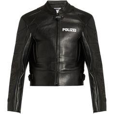 Vetements Polizei-print panelled leather jacket ($5,590) via Polyvore featuring men's fashion, men's clothing, men's outerwear, men's jackets, black, mens quilted leather jacket, mens leather jackets, mens slim jacket, mens white jacket и mens slim fit jacket