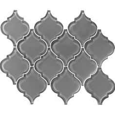"Metro Big Lantern Arabesque 15.63"" x 12.25"" Glass Subway Tile in Gray"