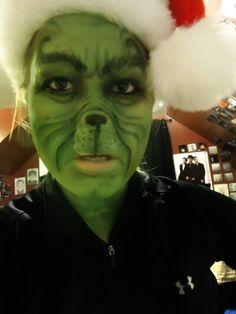 Grinch whole face Christmas face paint idea.