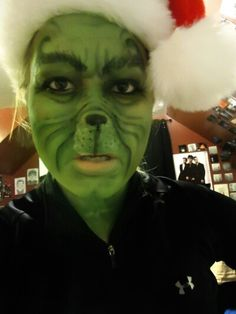 Grinch whole face Christmas face paint idea.