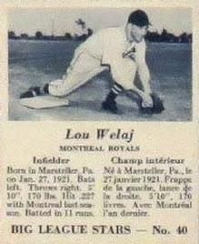 1950 Big League Stars (V362) #40 Lou Welaj Front