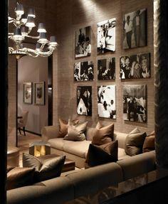 wall decor for bonus room or basement? also love the sofa