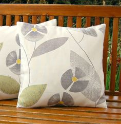 retro flowers grey sage green and gray leaves cushion cover, pillow cover 16 inch. £16.50, via Etsy.