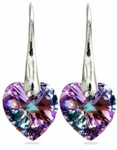Swarovski Crystal 925 Sterling Silver Vitrail Light Lavender Lilac Purple Amethyst Diamond Accent Love Heart Charm Drop10mm Swarovski Crystal Stone Earrings Set for Women Mother's Day Gift - Designer Jewelry for Mom- by Royal Crystals Royal Crystals,  GIFT OF LOVE if you wish to buy just CLICK on AMAZON right HERE http://www.amazon.com/dp/B00C00NOJ2/ref=cm_sw_r_pi_dp_WFj2sb0286NTZMT8